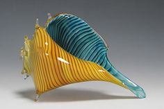 Whelk Sea Shell - Caramel Stripes & Blue  (Small, Medium or Large Sizes Available)