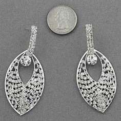 "$7.99 Black Friday Sale #blackfriday #cybermonday Amazon.com: Designer Inspired Rhinestone Earring / Post / Length: 2 3/4"" / Silver Plated: Jewelry"