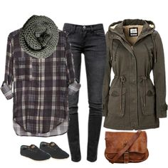 A fashion look from September 2014 featuring black jeans, TOMS and gray scarves. Browse and shop related looks.