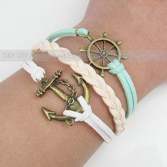 Anchor Bracelet, Sailing Helm Bracelet, Charm Bracelet, Thin Leather Cord Braid Bracelet Adjustable Weave Bangle with Extension Chain via Etsy
