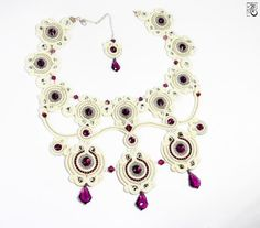👍 Soutache Necklace, Shibori, Beaded Embroidery, Drop Earrings, Beadwork, Etsy, Necklaces, Jewellery, Fashion