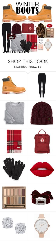 """""""Winter boots:D"""" by oliviiamaya ❤ liked on Polyvore featuring Timberland, Blair, Dr. Martens, GURU, Burberry, Fjällräven, SO, Lime Crime, Urban Decay and Fallon"""