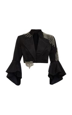 This **Khosla Jani** Swarovski Stone Cropped Jacket features a mandarin neckline with a small lapel, ruffled bell sleeves, and extremely small welt pocket details. Fashion Mode, Kpop Fashion Outfits, Stage Outfits, Look Fashion, Korean Fashion, Girl Fashion, Womens Fashion, Fashion Design, Looks Chic