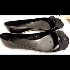 J. Crew ballet flats Rubber ballet shoes with ribbon bow. Worn twice. Perfect condition! Built for comfort. Fashionably formal. J. Crew Shoes Flats & Loafers