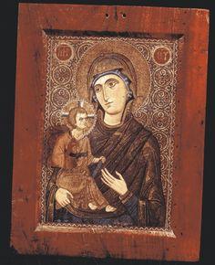 """Mosaic Icon of the Virgin Hodegetria"" Late 12th/ early 13th century Glass and ceramic tesserae on panel 47.3 X 33.7 X 2.5 cm Holy Monastery of Saint Catherine, Sinai, Egypt"