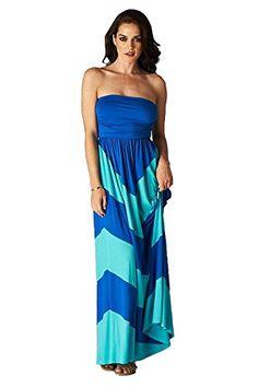 5b33043f9923 Charm Your Prince Women s Sleeveless Summer Chevron Empire Maxi Dress Aqua  Blue And Turquoise Large