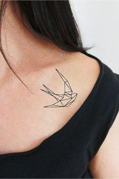 2 tatouages temporaires d'hirondelle en origami / tatouage temporaire hirondelle…