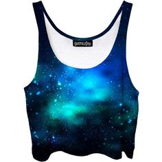 Deep Sea Space Crop Top Blue Green Ocean Galaxy Dark Bubble Stars... (€35) ❤ liked on Polyvore featuring tops, shirts, crop tops, tanks, grey, women's clothing, blue crop top, gray crop top, galaxy print shirt and green shirt