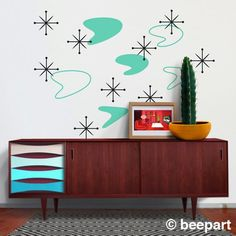 For the Vintage / Mid Century Modern Home/ Rockabilly/ Home: Boomerang mid century wall decal set starburst wall decals 50s Decor, Retro Home Decor, Modern Decor, Modern Wall, Modern Living, Décoration Mid Century, Mid Century Decor, Retro Interior Design, Cafe Interior