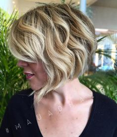 Wavy Blonde Bob With Bangs
