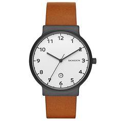 Buy Skagen SKW6297 Men's Ancher Date Leather Strap Watch, Tan/White Online at johnlewis.com