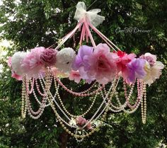 Giant Dreamy Rose Chandelier Mobile / flower chandelier / mobile / girls nursery / bedroom / decor
