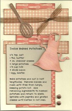 Twice-Baked Potatoes Paper Cottage: Recipe Kit of the Week - Scrapbook Paper Crafts, Scrapbook Cards, Scrapbook Layouts, Mini Albums, Family Recipe Book, Recipe Books, Scrapbook Recipe Book, Cute Scrapbooks, Cookbook Recipes