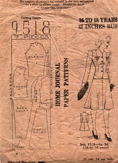 1940s Australian Home Journal 9518 Teen Skirt Suit Vintage Sewing Pattern Bust 32 Inches UNUSED Factory Folded