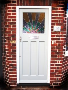 1930s Door with colourful leaded glass