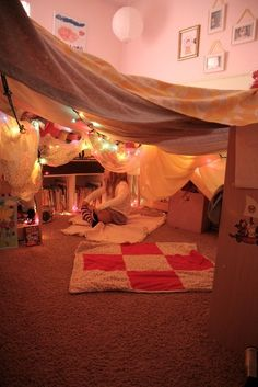 When we move house we will build a fort in your new playroom Eric :) Indoor Forts, Indoor Camping, Kids Bedroom, Bedroom Decor, Warm Bedroom, Bedroom Furniture, Furniture Design, Build A Fort, Rainy Day Activities