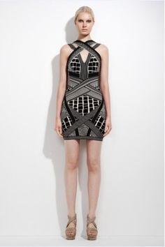 Herve Leger Adele Geometric Jacquard Dress