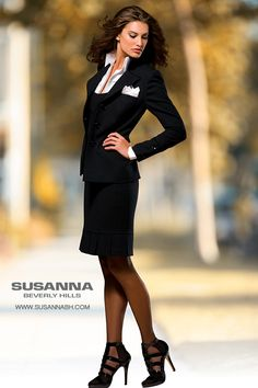 Business attire for women. This haute couture jacket and skirt is available custom made and ready to wear at Susanna Beverly Hills boutique in Beverly Hills. As seen on Hillary Clinton in her everyday life. See more of the Susanna Beverly Hills Fall 2013 Collection featuring the Famous Pantsuit at www.Susannabh.com