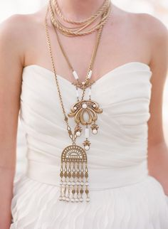 If I go with a simple dress I am absolutely wearing this many gold necklaces