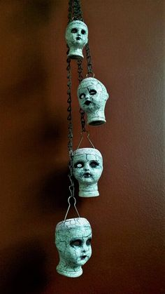 One-of-a-kind Upcycled Repurposed Creepy Doll Head by UrsMineNours