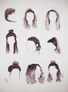 Pin By Genveive Thatch On Aesthetic Hair Sketch Hair Styles – Lewis Patrick - Hairstyle Hairstyles With Bangs, Braided Hairstyles, Cool Hairstyles, Hairstyles 2018, African Hairstyles, Drawing Hairstyles, Zoella Hairstyles, Straight Hairstyles For Long Hair, Black Hairstyles