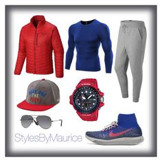 """""""Men's Athletic Apparel"""" by mauricee-brewer on Polyvore featuring NIKE, Mountain Hardwear, New Balance, American Eagle Outfitters, G-Shock, Ray-Ban, men's fashion and menswear"""