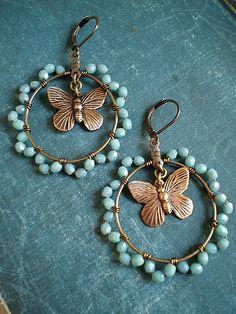 εїз Butterfly Jewelry, Earrings Crafts, Seed Bead Earrings, Copper Earrings, Wire Wrapped Earrings, Boho Earrings, Earrings Handmade, Seed Beads, Fashion Earrings