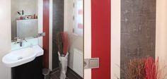 Gäste-WC ohne Fliesen mit auffälliger Wandgestaltung in Rot und Anthrazit; Foto: © Michael Schiwek