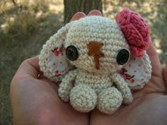 $7.00    Lulu the Bunny just makes you want to smile. Adorable and durable, she is made with soft acrylic yarn. A perfect toy for that little baby, or she can even be used as a springtime decoration.