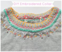Tutorial how on to add a decorative embroidered collar to a jumper