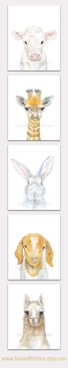 Watercolor Farm Animal artwork. Nursery art or any room in my farmhouse!