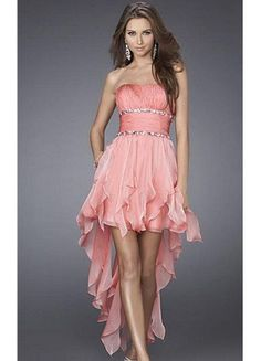Classic Style Chiffon Strapless High-low Wrinkles And Beaded Short Length Homecomg Dress/Cocktail Dress