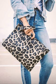 The Madison leopard clutch is perfect for a day of shopping or a night out on the town; available in light, dark and gray leopard print! Leopard Clutch, Fashion Night, Fashion Handbags, Clutch Handbags, Clutch Purse, Fashion Bags, Fashion Outfits, Feminine Style, Feminine Fashion