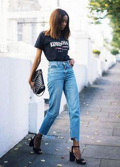 denim blue-jean jeans femme look tendance automne hiver 2017 chaussures à talon