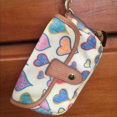 Dooney & Bourke wristlet wallet Multi colored hearts designed never worn Dooney & Bourke Bags Clutches & Wristlets