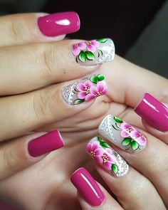 Spring Nail Designs - My Cool Nail Designs Spring Nail Art, Nail Designs Spring, Acrylic Nail Designs, Nail Art Designs, Acrylic Nails, Cute Nails, Pretty Nails, Glitter Manicure, Strong Nails