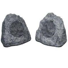"""New 8"""" Woofers Outdoor Garden Waterproof Granite Rock Patio Speaker Pair 2R8G"""