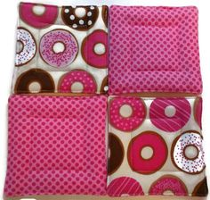 Hostess GiftQuilted Coaster Set Donut Coaster by KelleenKreations