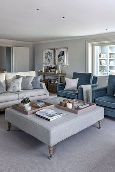 Off white upholstery with blue velvet accent chairs… Modern classic living room. Off white upholstery with blue velvet accent chairs. Sims Hilditch, The Garden House Sitting Room White Living Room Chairs, Grey Carpet Living Room, Formal Living Rooms, Living Room Modern, Living Room Sofa, Living Room Interior, Living Room Designs, Blue Chairs, Velvet Chairs
