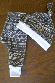 Black and White Tribal Print Pant and Hat Gift Set in Organic Cotton - Gender Neutral Hat Pant Combo - Organic Cotton Baby Clothing on Etsy, $31.00