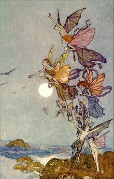 Fairies and Faeries: Selected art prints by Arthur Rackham, Warwick Goble, Sulamith Wulfing, Edmund Dulac and others Edmund Dulac, Arthur Rackham, Fantasy Kunst, Fantasy Art, Illustration Art Nouveau, Moon Illustration, Fantasy Illustration, Kobold, Elves And Fairies