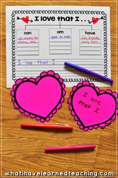 A fun Valentine's Day activity where students share what they love about themselves. Create an anchor table in your classroom, have students use the FREE Graphic Organizer, and then create a heart with their favorite attributes. Valentines Day Activities, Holiday Activities, Valentine Day Crafts, Valentines Games, Valentine Party, Valentine Ideas, Teacher Valentine, Printable Valentine, Homemade Valentines