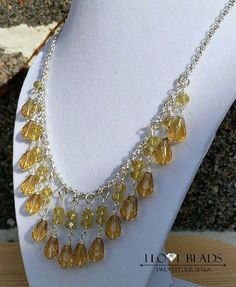 yellow crystal necklace-yellow and silver necklaces-yellow crystal statement necklace- wedding jewelry- crystal necklace- silver necklace