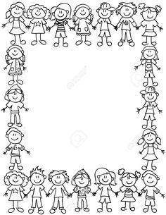 Frame or page border of cute kid cartoon characters holding hands - black outline