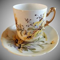 "Rosenthal Hand Painted Porcelain ""Blackeye Susans"" Pattern Tea Cup & Saucer"