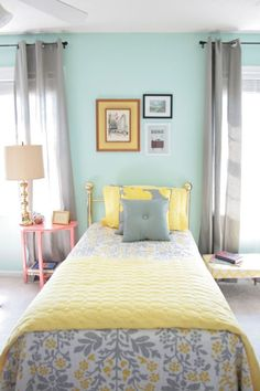 Sweet yellow, grey, and aqua guest room