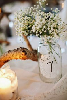 myWedding: vintage decorations with paper doilies attached to vases with table numbers / Doily Wedding Doily Wedding, Wedding Table, Wedding Flowers, Rustic Country Wedding Decorations, Rustic Wedding, Vineyard Wedding, On Your Wedding Day, Wedding Styles, Wedding Ideas