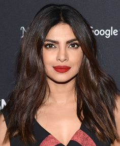 Pin This: Priyanka Chopra Shows Off the Coolest Lip Colors for Fall - How to Get Priyanka Chopra's Lip Colors – bold red - Priyanka Chopra Lipstick, Actress Priyanka Chopra, Priyanka Chopra Hot, Bollywood Actress, Indian Skin Tone, Indian Skin Hair Color, Lipgloss, Matte Lipstick, Purple Lipstick