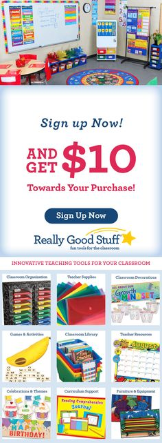 Sign and save. Sign up now and get $10 off of teaching supplies, teaching tools and resources.