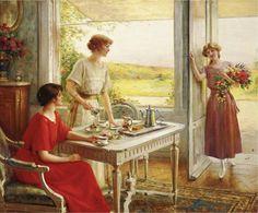 Albert Lynch art, Time for Tea.
